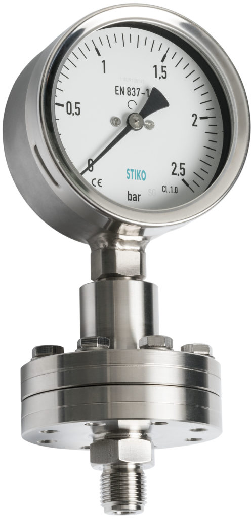pressure gauge with seal with internal diaphragm