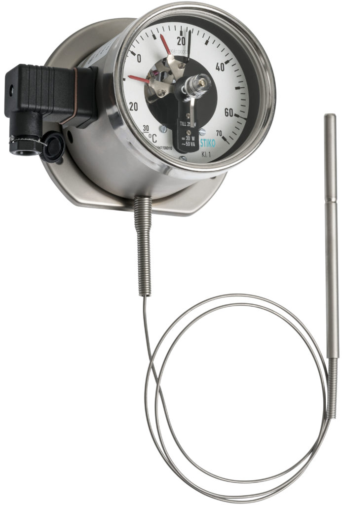 thermometer with capillary and double magnetic contact