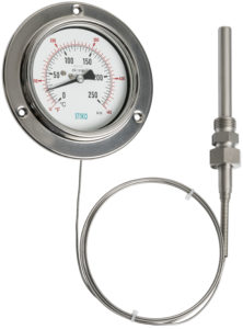 thermometer with capillary and front flange