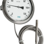 thermometer with capillary and u clamp for flush panel mounting
