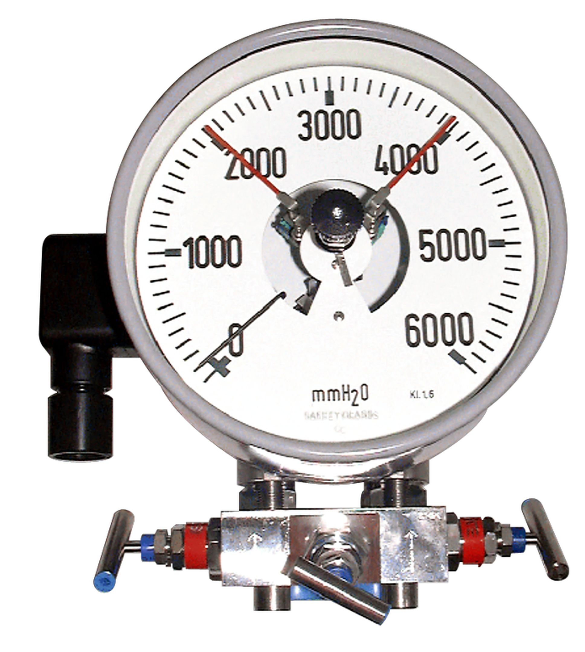 differential pressure gauge with special contact and manifold in hastelloy c