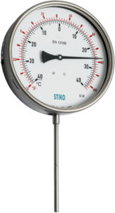 rigid stem thermometer with double scale